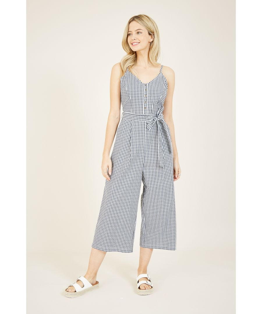 Image for Yumi Black Gingham Cotton Jumpsuit
