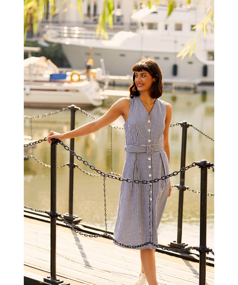 Image for Yumi Black Gingham Cotton Dress With Matching