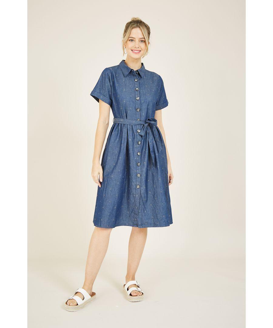 Image for YUMI Denim Spot Shirt Dress
