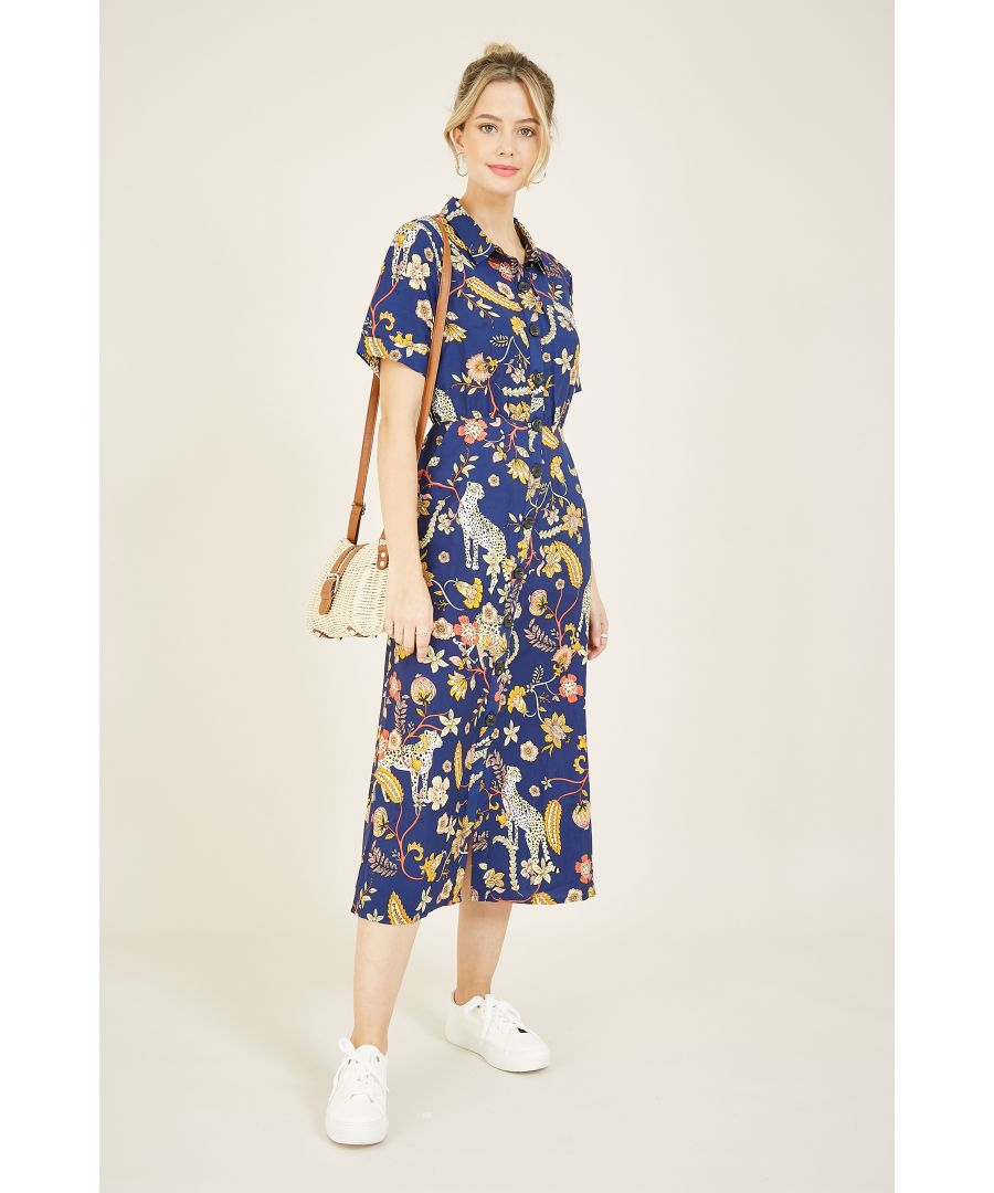 Image for Yumi Navy Leopard Print Shirtdress