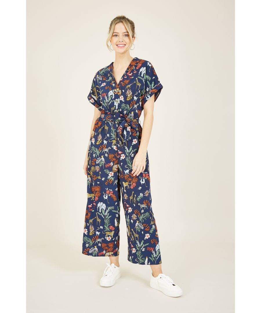 Image for Yumi Navy Animal Kingdom Print Jumpsuit