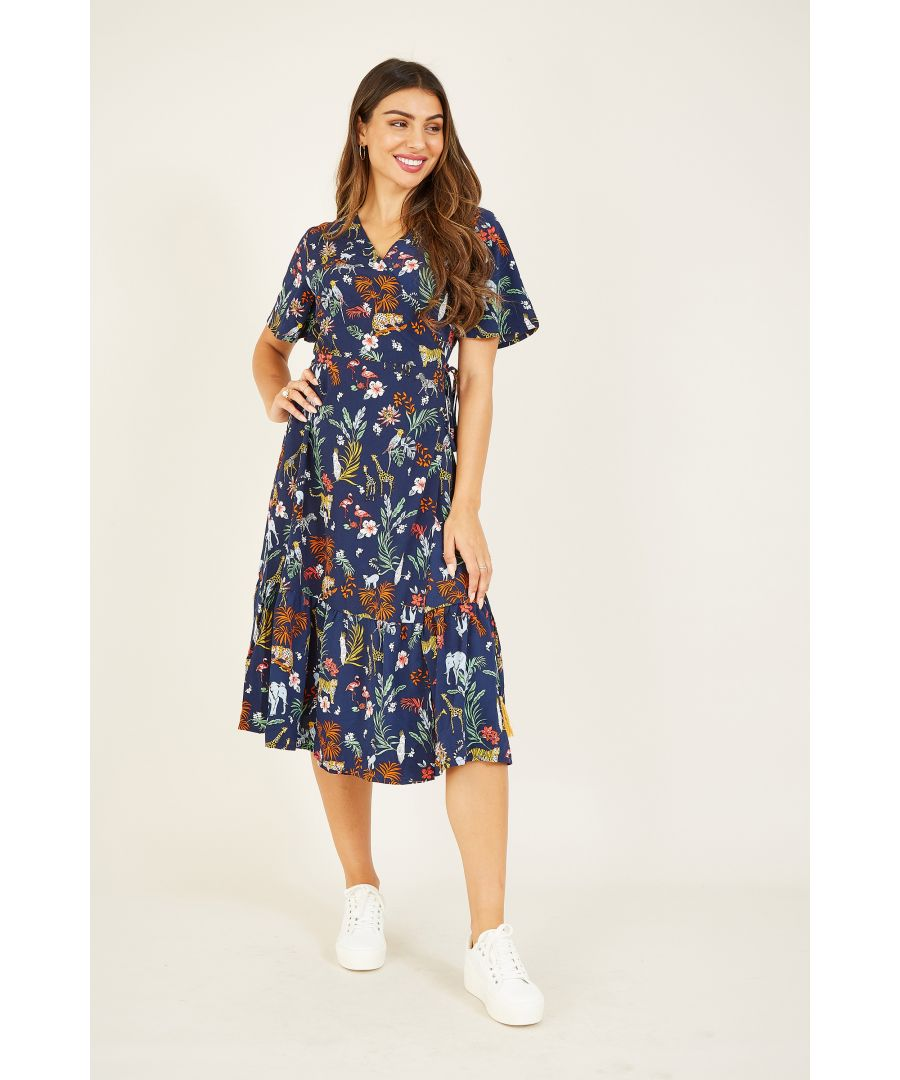 Image for Yumi Navy Animal Kingdom Print Wrap Dress