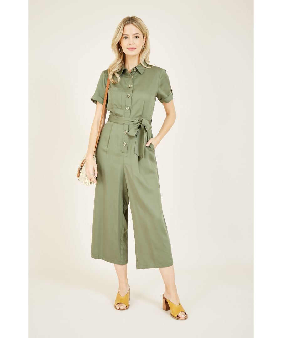 Image for Yumi Khaki Green Military Jumpsuit With Button