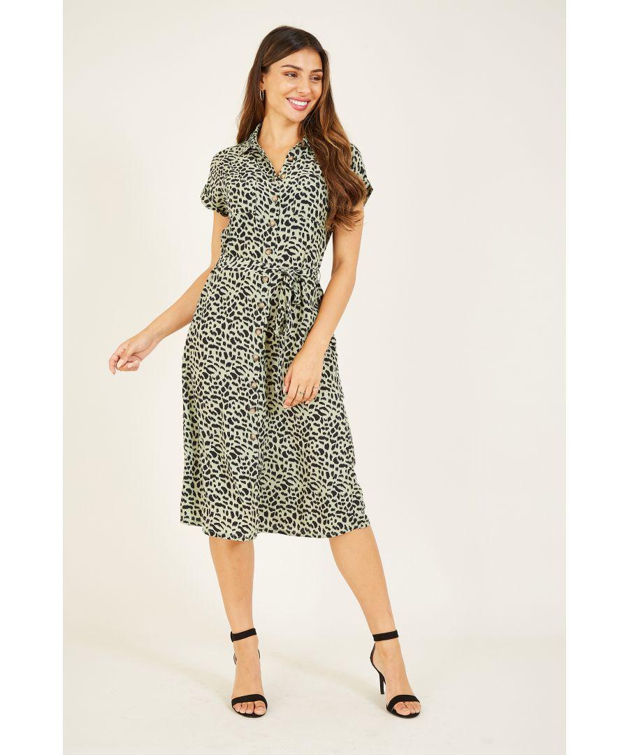 Image for YUMI Green Cheetah Print Shirt Dress