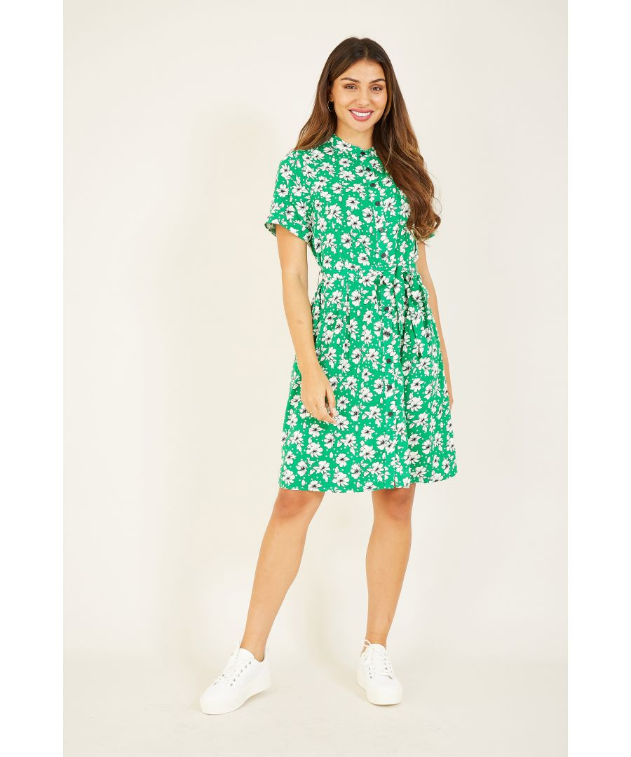 Image for YUMI Green Flower And Spot Print Shirt Dress