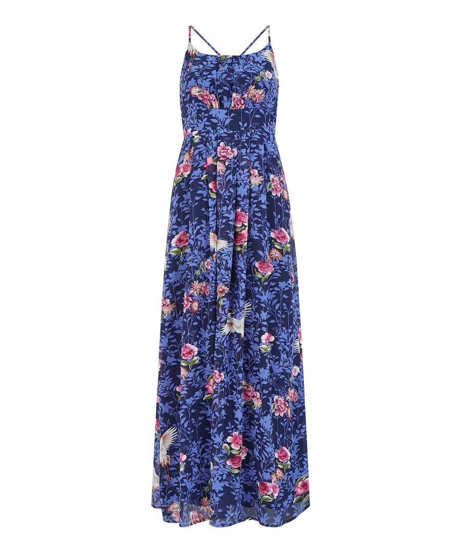 Image for Yumi Blue Crane Print Maxi Dress