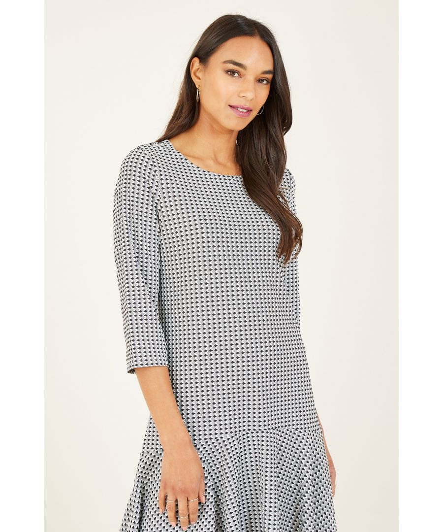 Image for Yumi Grey Dipped Hem Tunic With Frill Hem