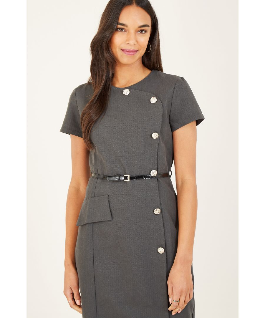 Image for Yumi Grey Button Detail Fitted Dresss