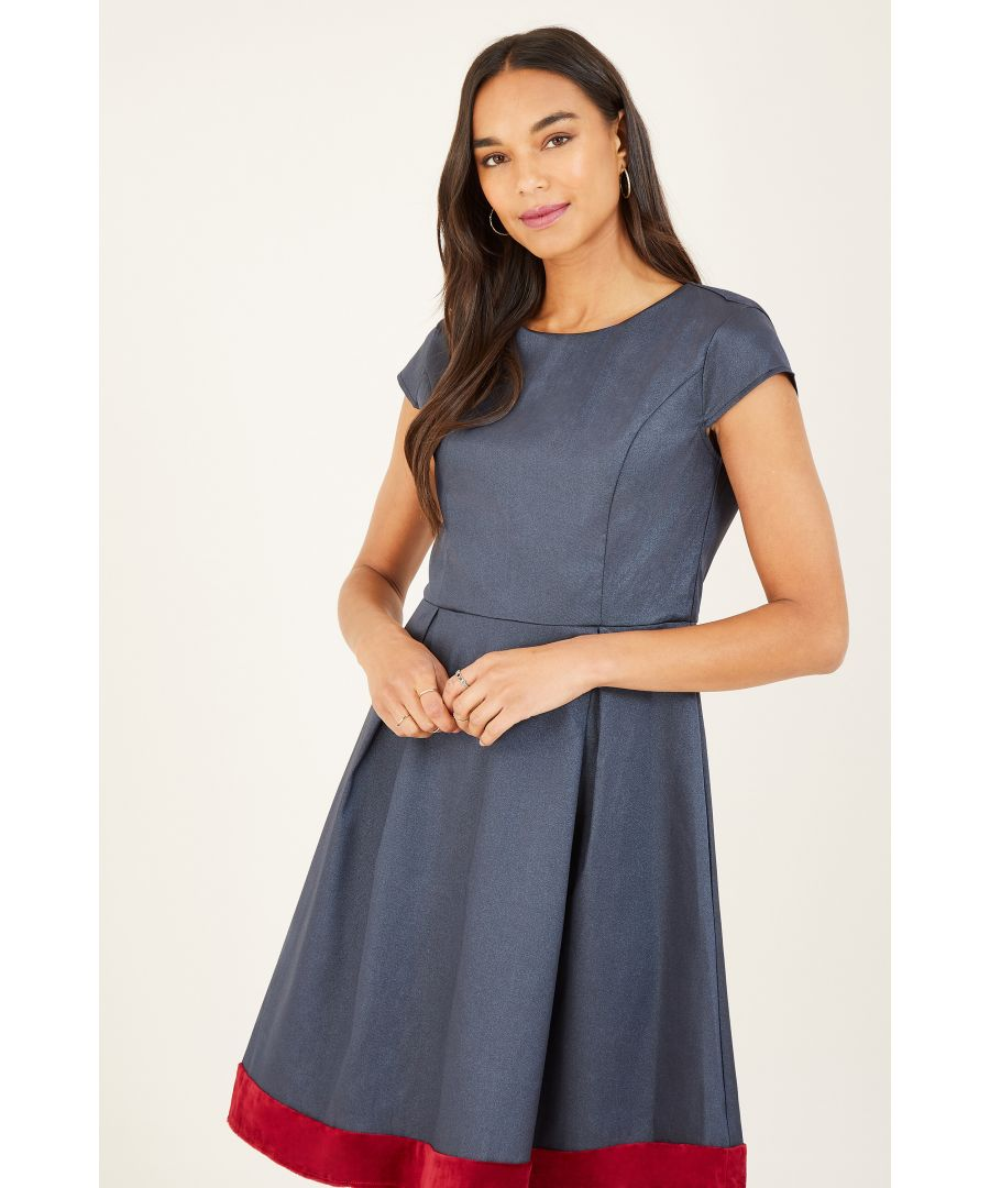 Image for Yumi Navy Skater Dresss With Contrast Hem