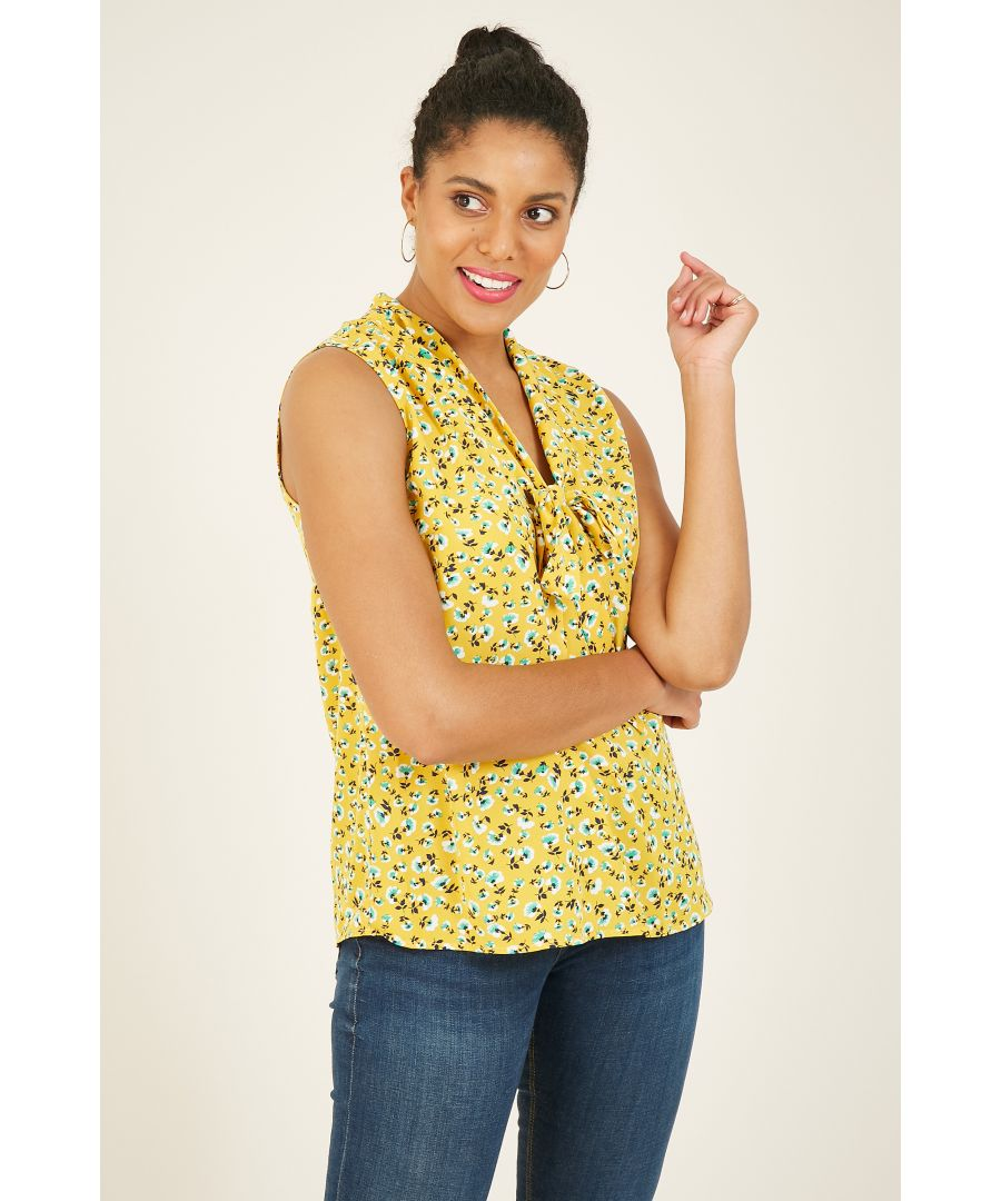 Image for Yumi Yellow Ditsy Pussybow Blouse