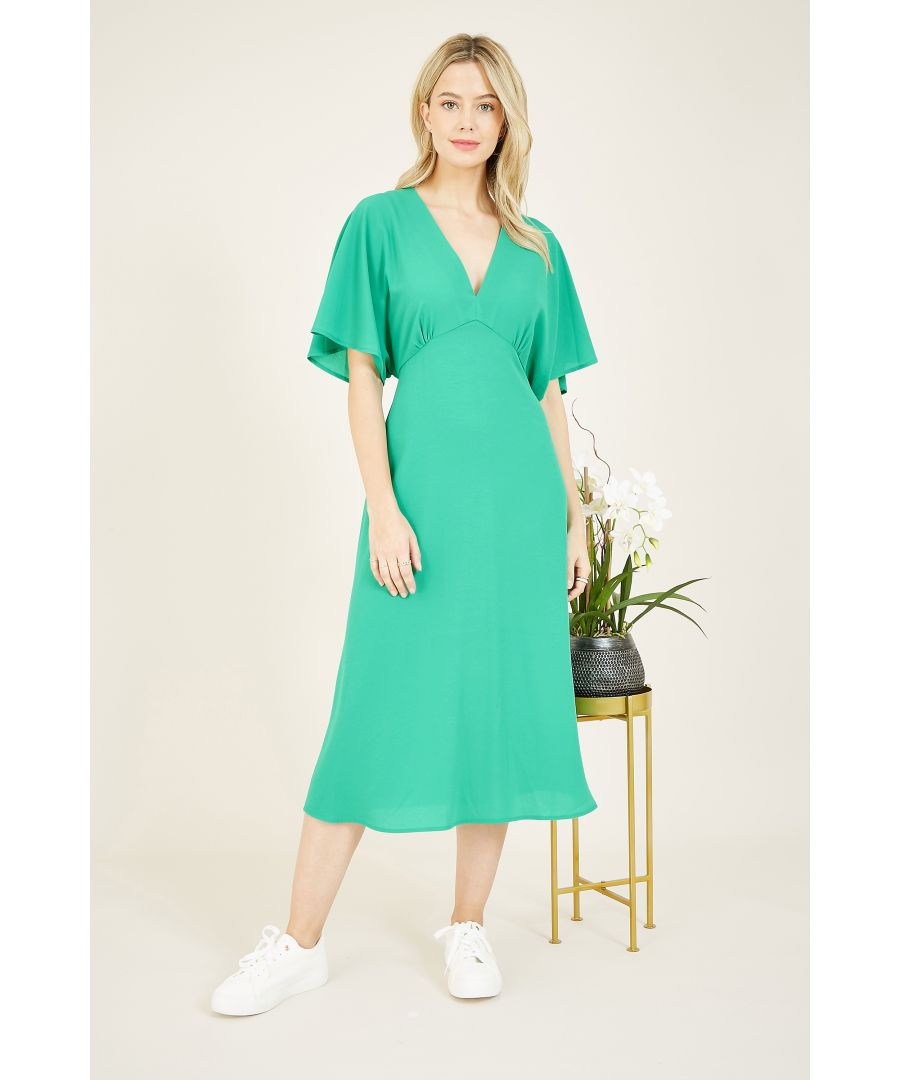 Image for Yumi Green Kimono Sleeve Midi Dress