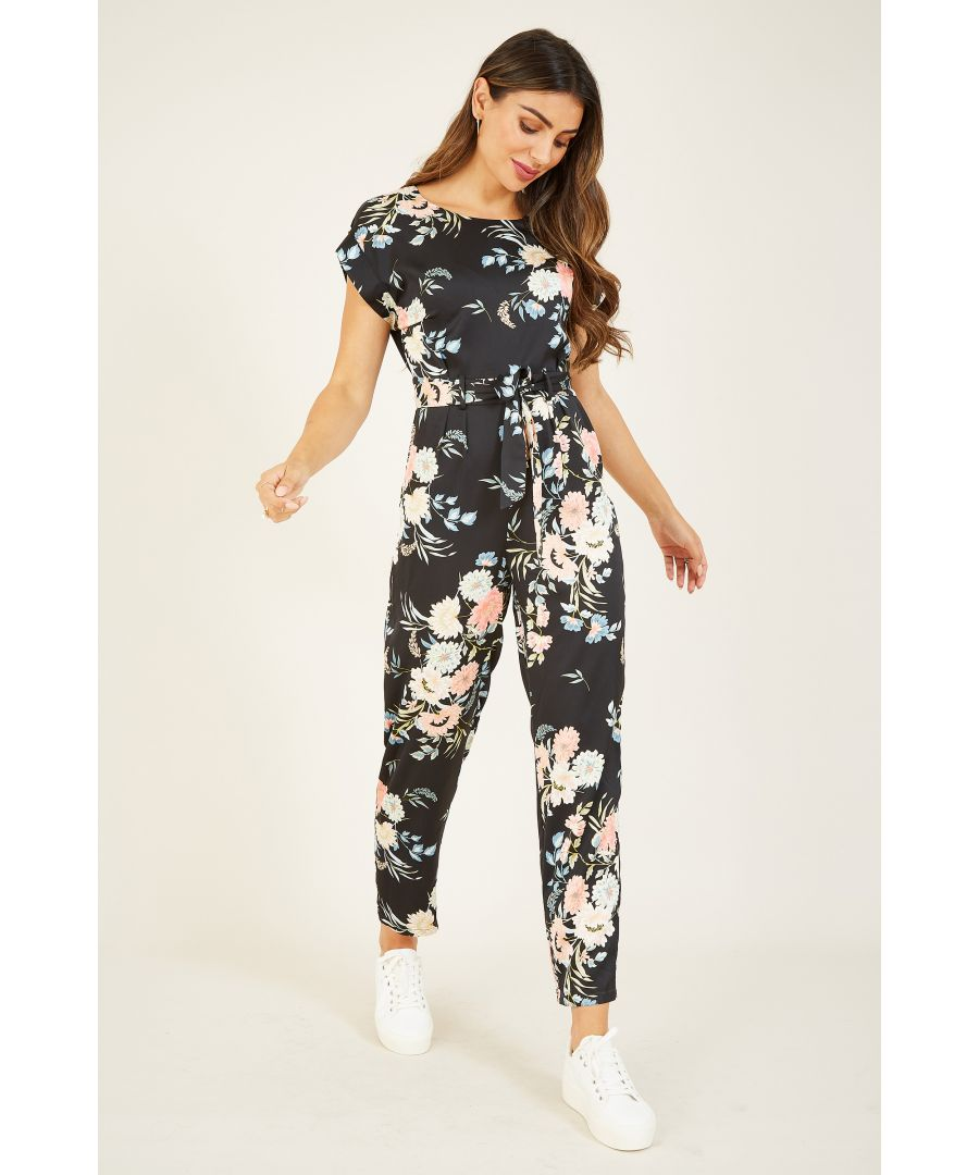Image for Yumi Black Japanese Floral Jumpsuit