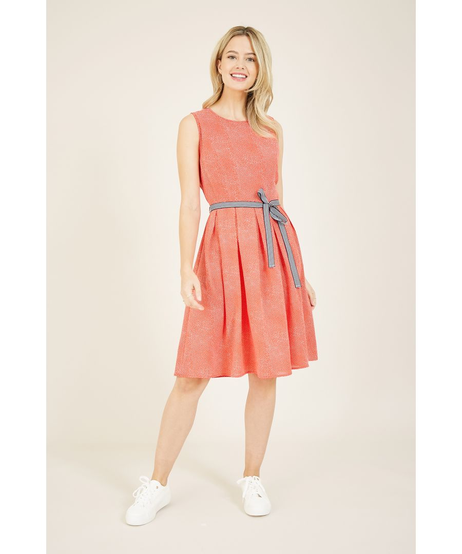 Image for YUMI Red Spot Skater Dress With Contrast Belt