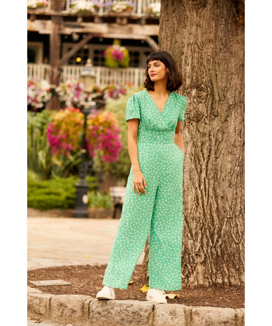 Image for Yumi Green Ditsy Print Jumpsuit