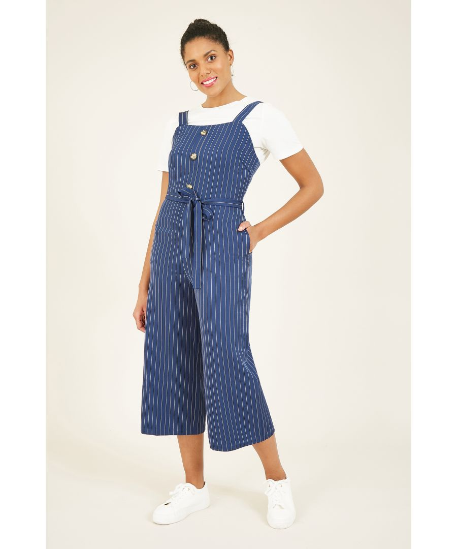 Image for YUMI Navy Stripe Dungaree Jumpsuit