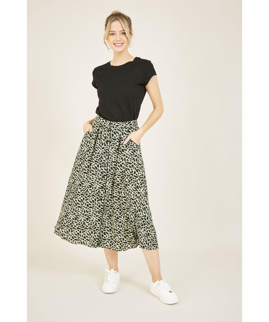 Image for YUMI Green Cheetah Print Button Through Skirt