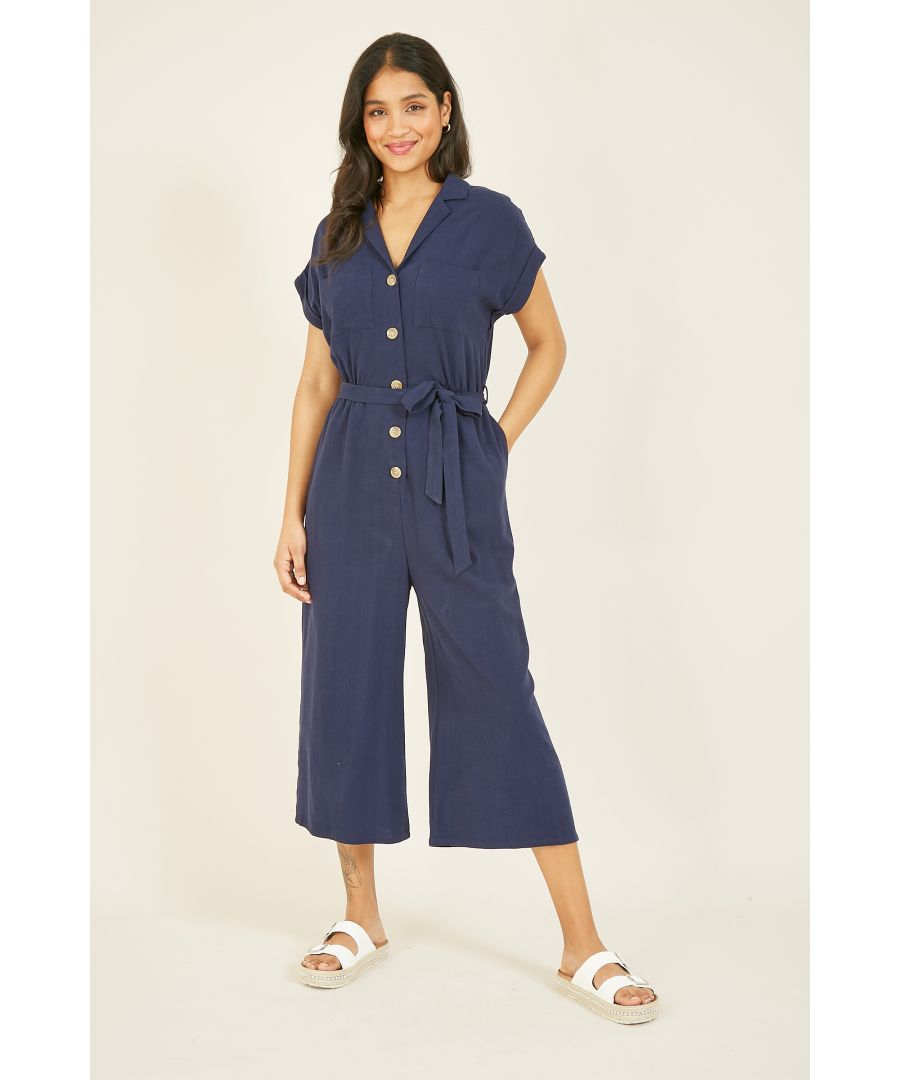 Image for Yumi Navy Linen Jumpsuit