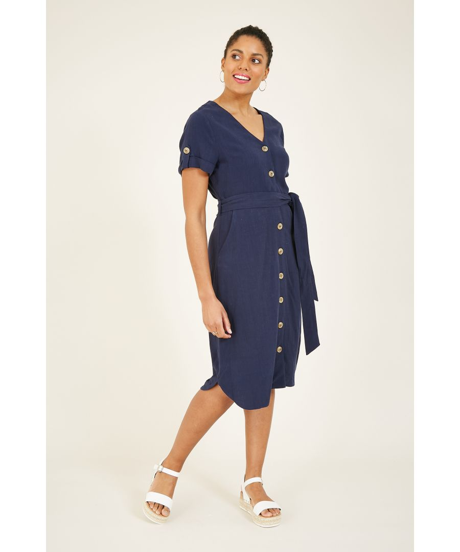Image for Yumi Navy Linen Shirtdress