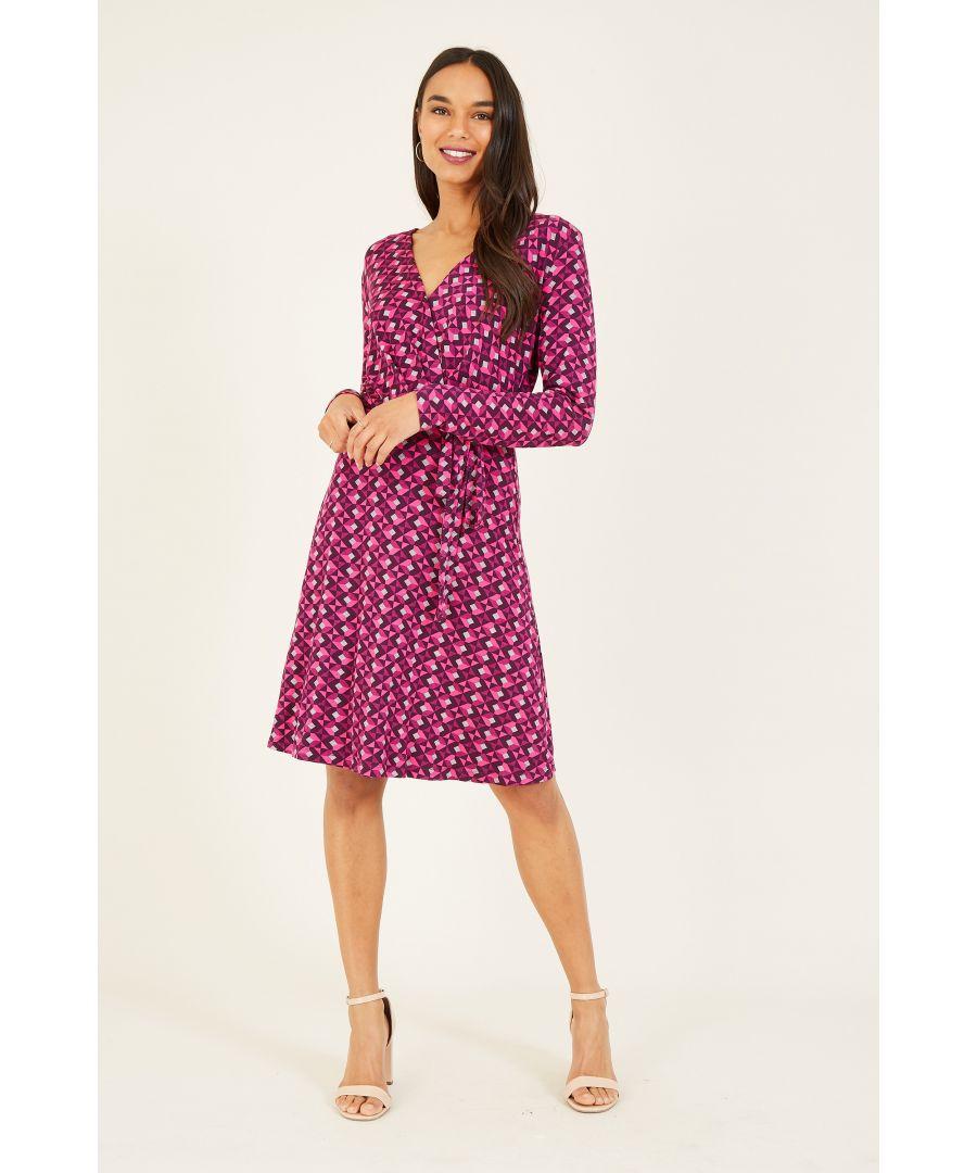 Image for Yumi Pink Geometric Print Jersey Wrap Dress