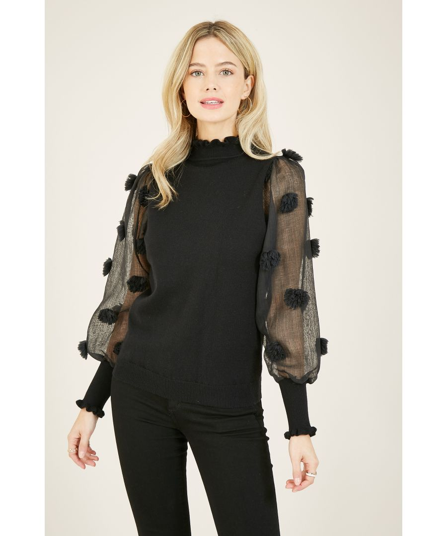 Image for Yumi Black Knit Jumper With Woven Texture Sleeve