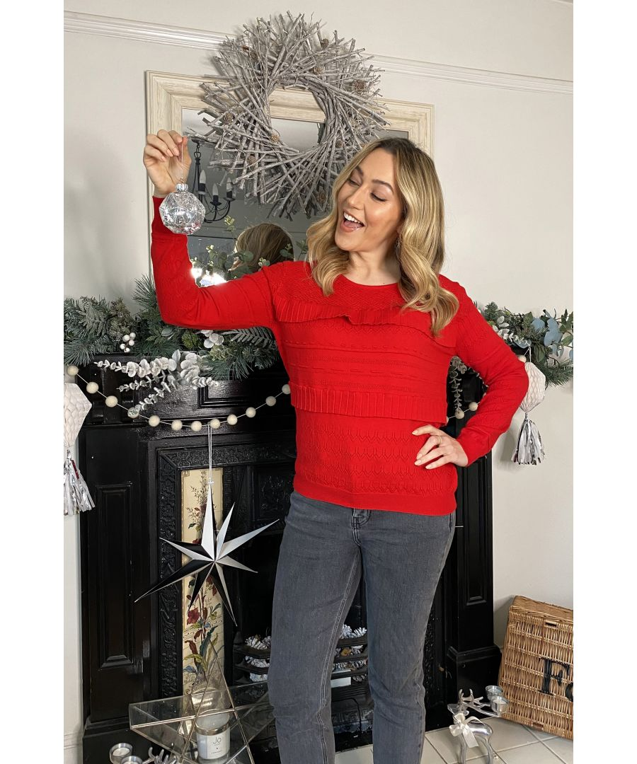 Image for Yumi Red Ruffle Stitch Relaxed Jumper