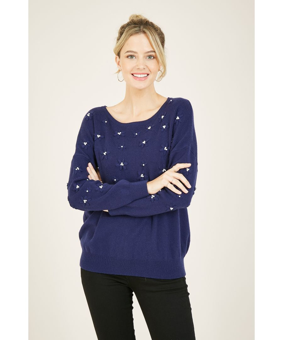Image for Yumi Navy Daisy Embroidered Pearl Knitted Jumper