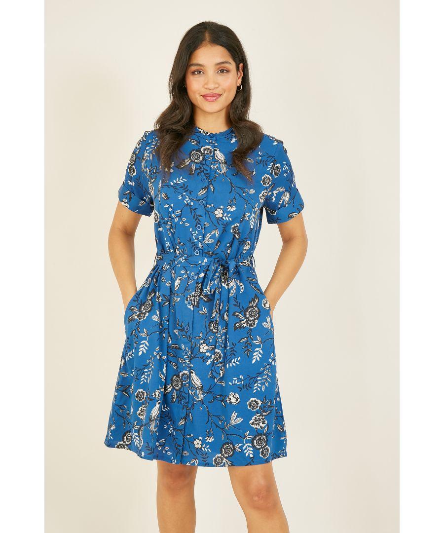 Image for YUMI Blue Bird Print Shirtdress