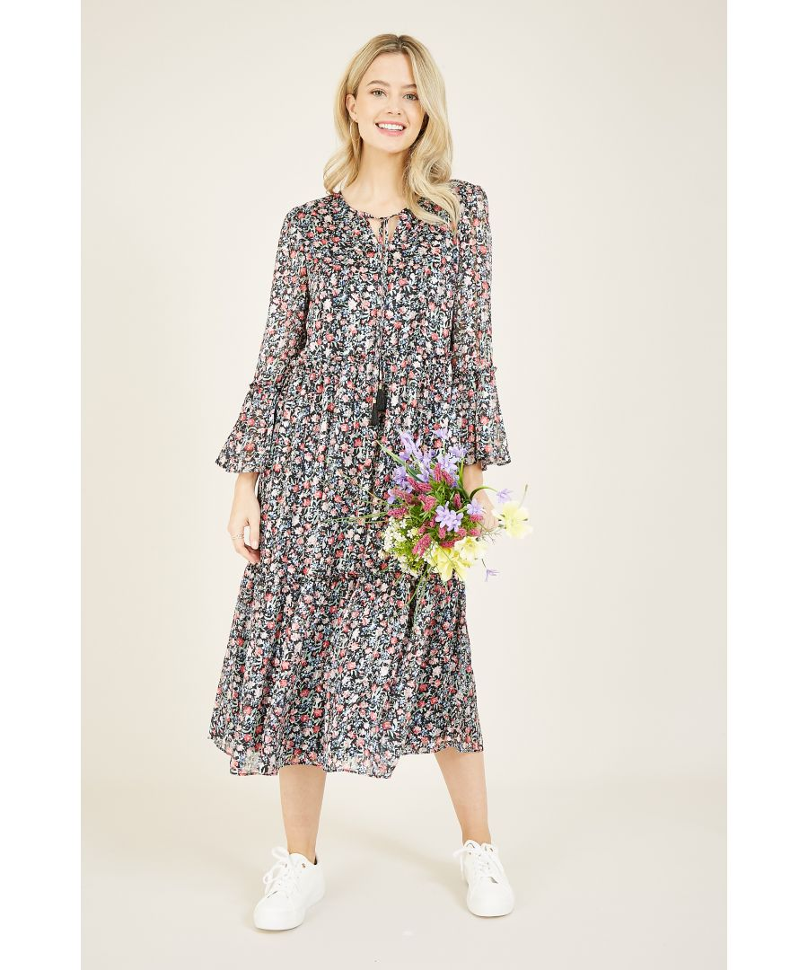 Image for Yumi Ditsy Print Wrap Over Tie Detail Dress