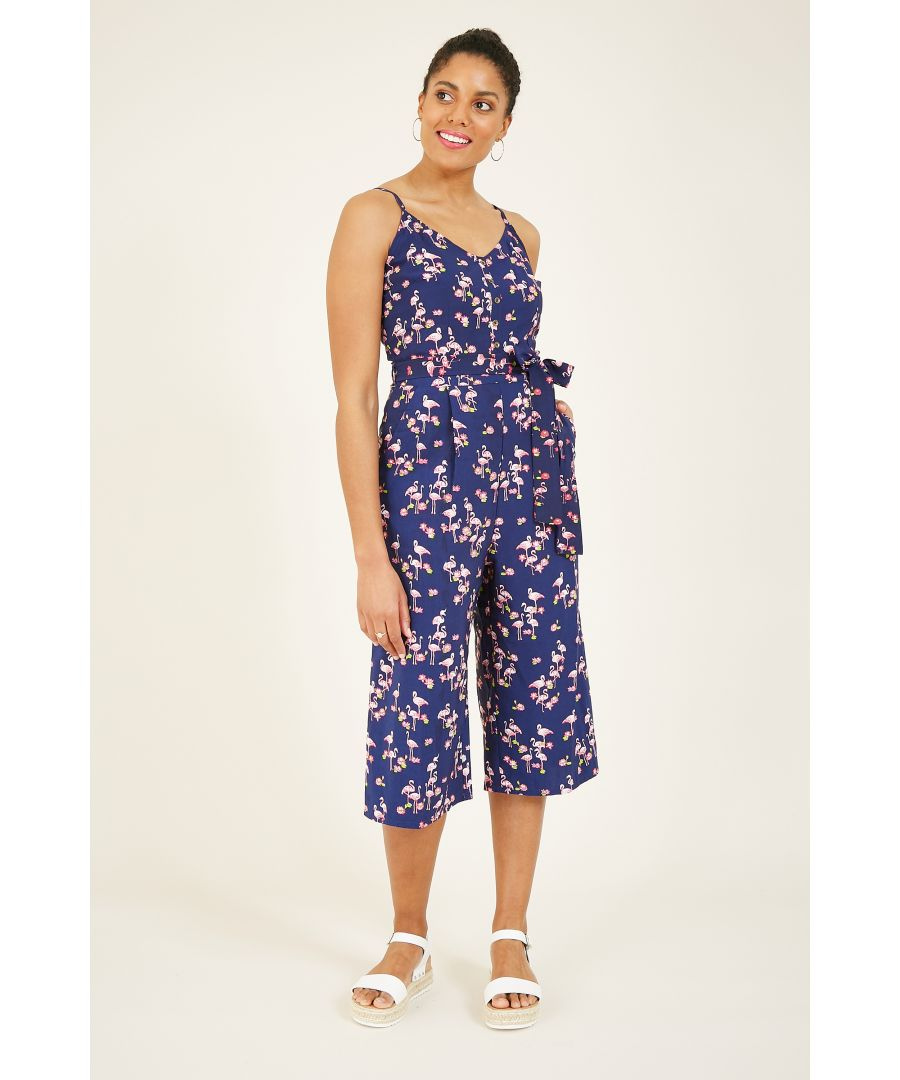 Image for Yumi Navy Flamingo Jumpsuit With Button Detai