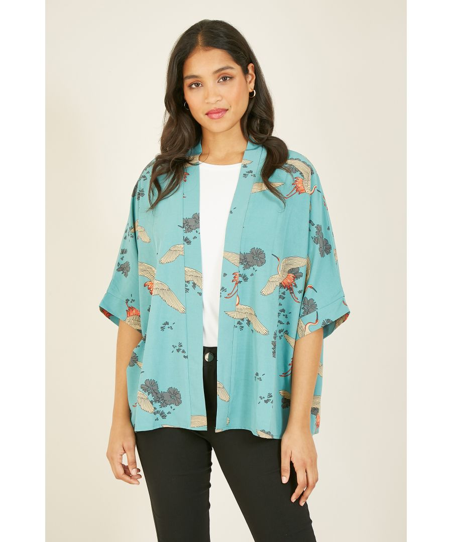 Image for YUMI Green Crane Print Kimono