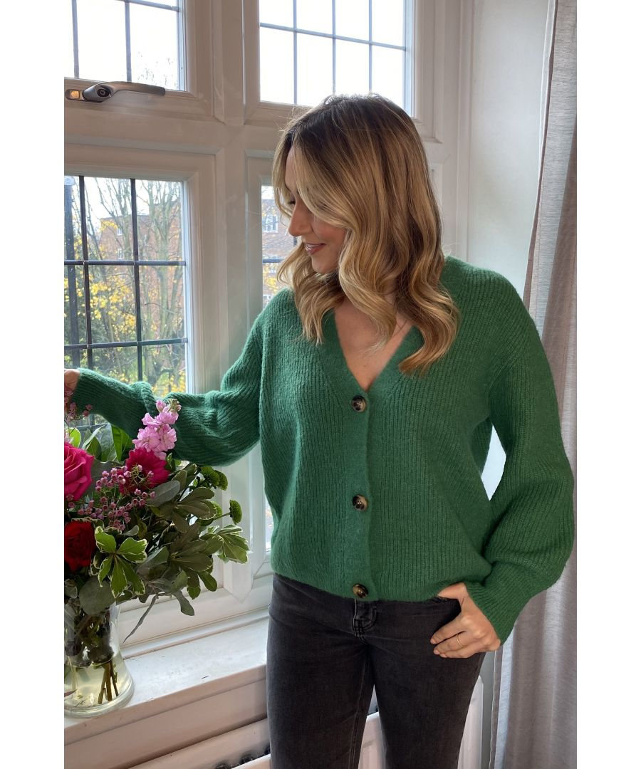Image for Yumi Green Button Front Knitted Cardigan