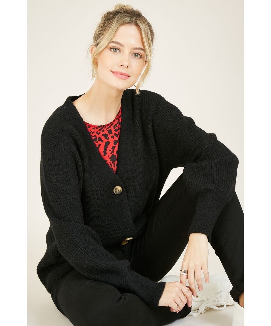 Image for Yumi Black Button Front Knitted Cardigan