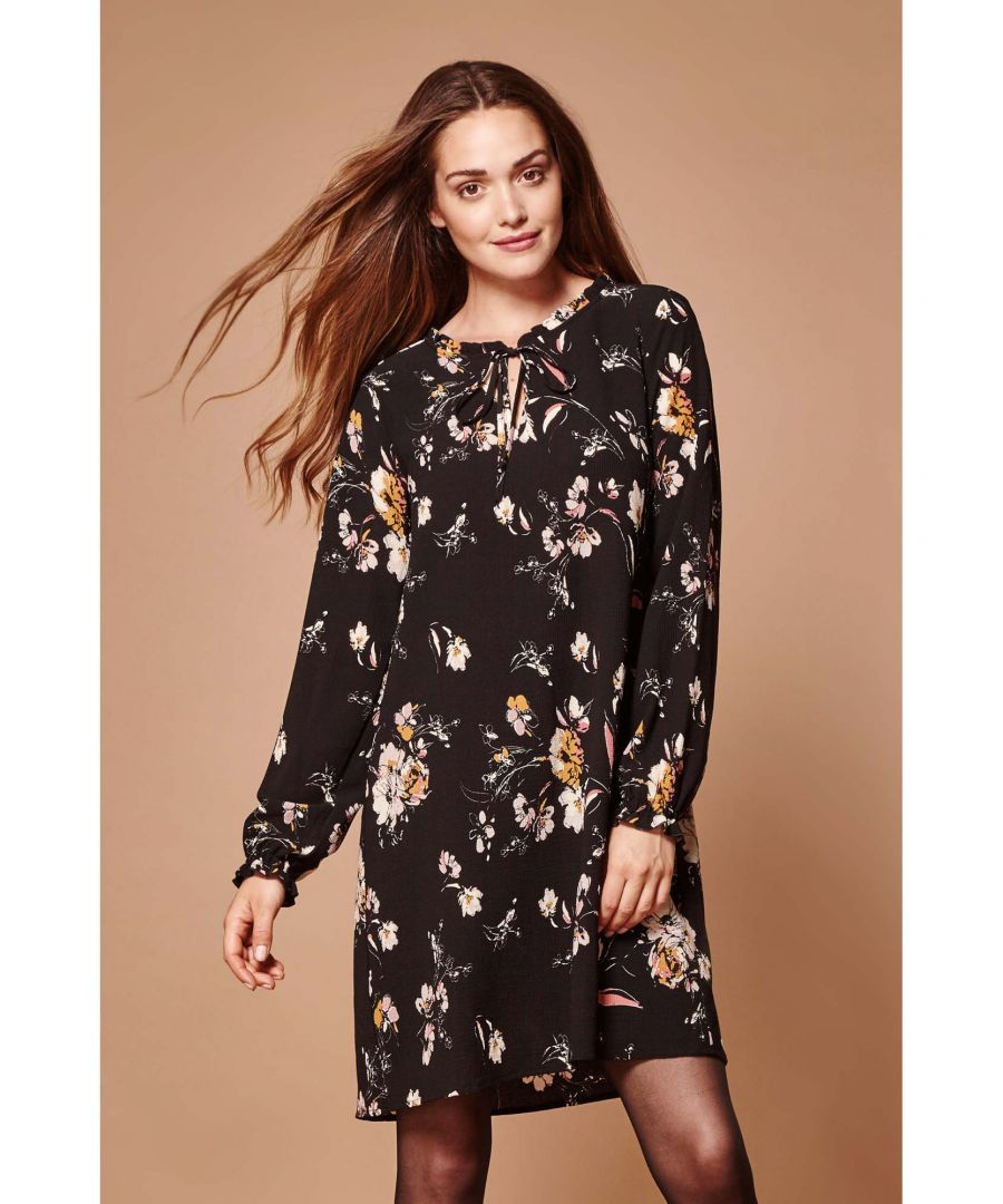 Image for Swirl flower tie neck tunic