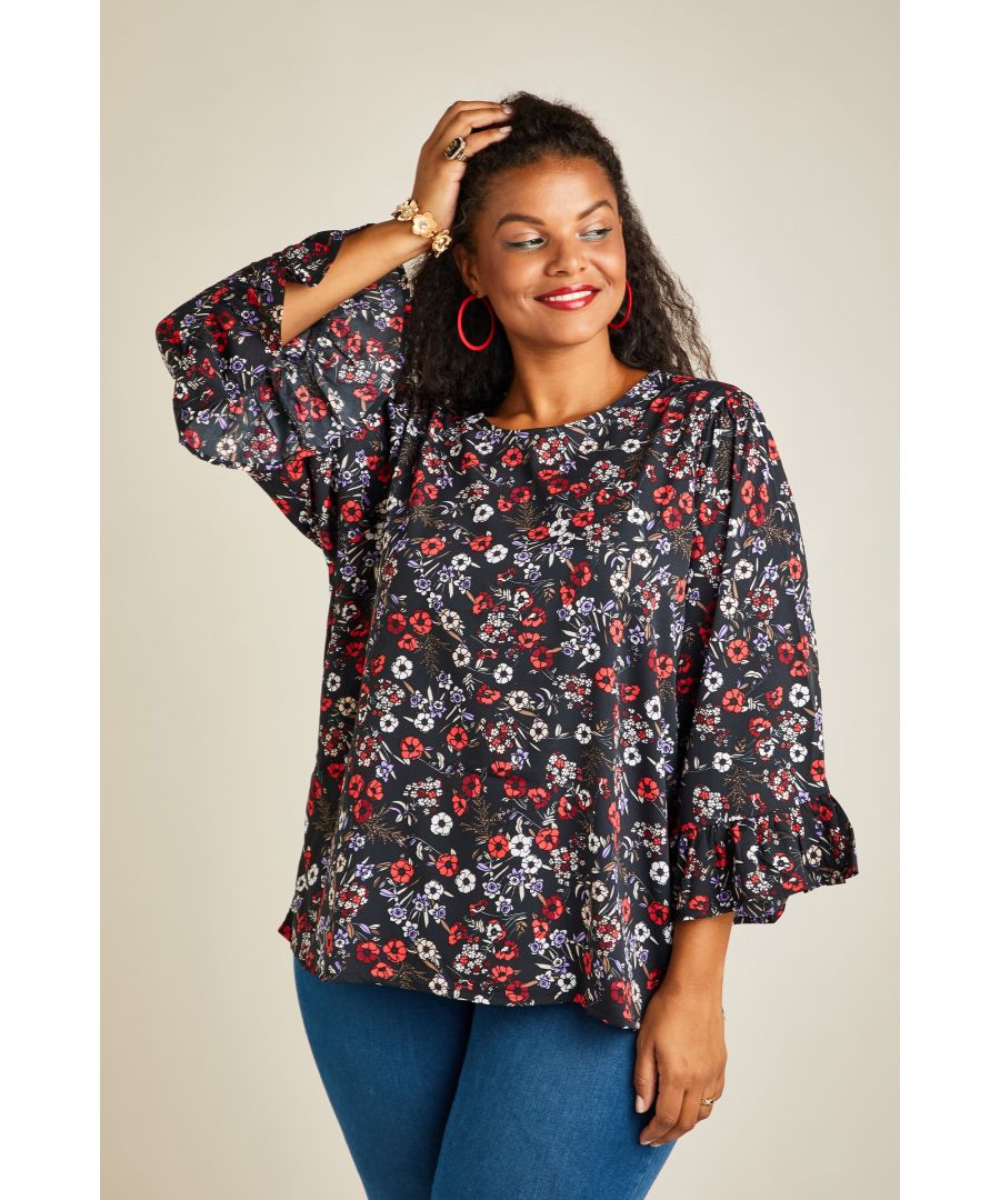 Image for DITSY POPPY FLUTED SLEEVE TOP AW008