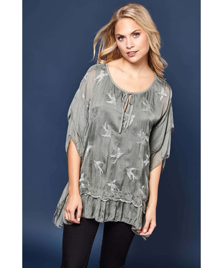 Image for Embroidered Bird Frill Top