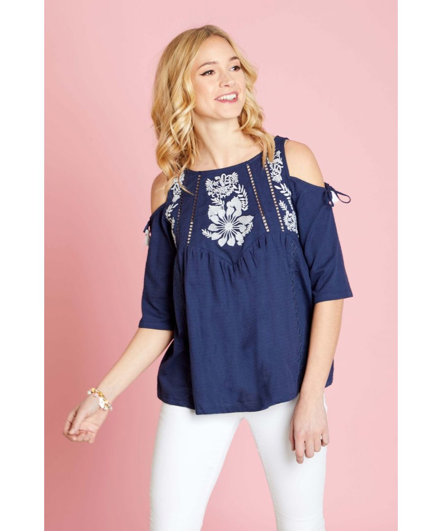 Image for Embrodiery Cold Shoulder Top
