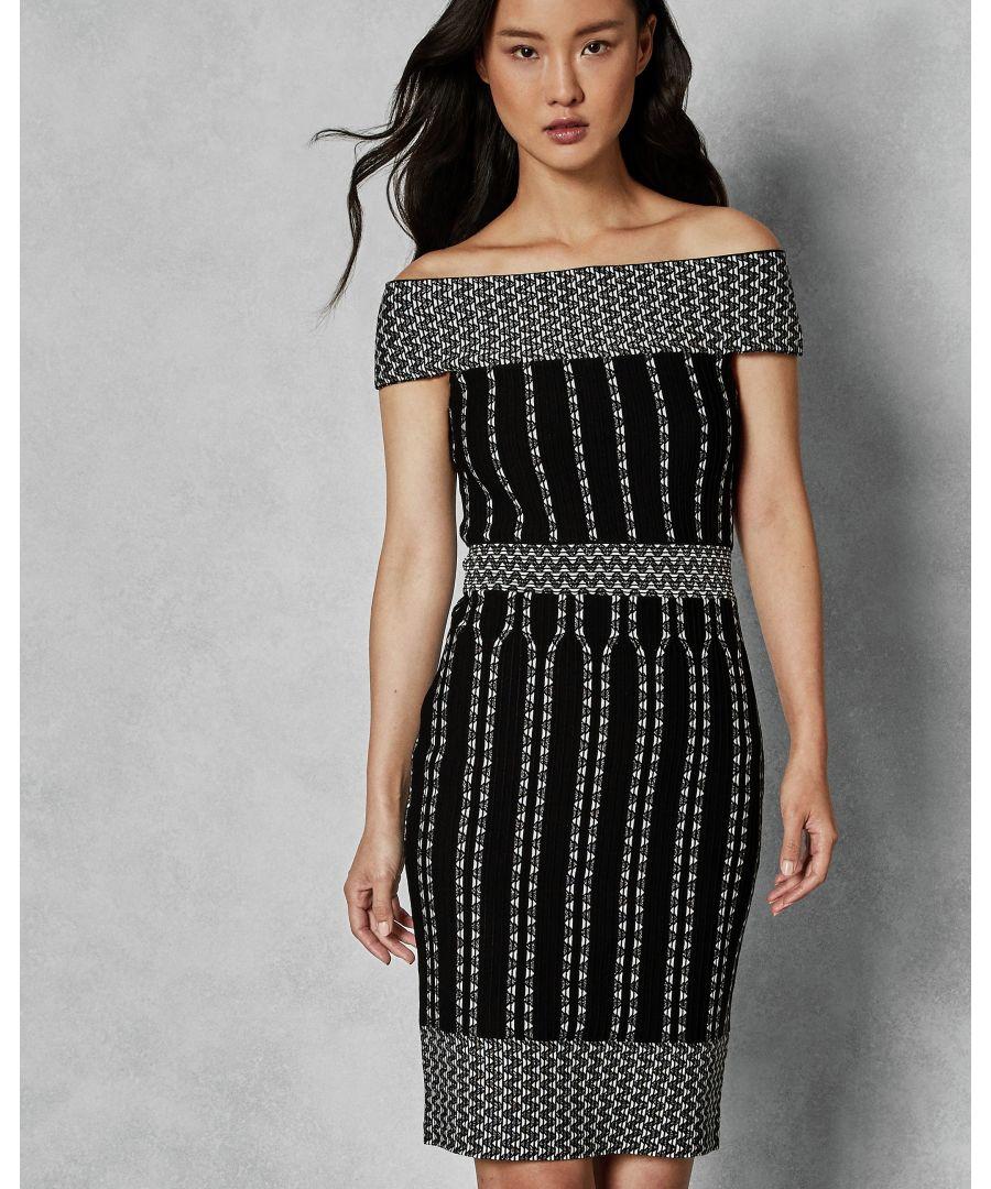 Image for Ted Baker Yolinii Stripe Jacquard Bodycon Dress, Black