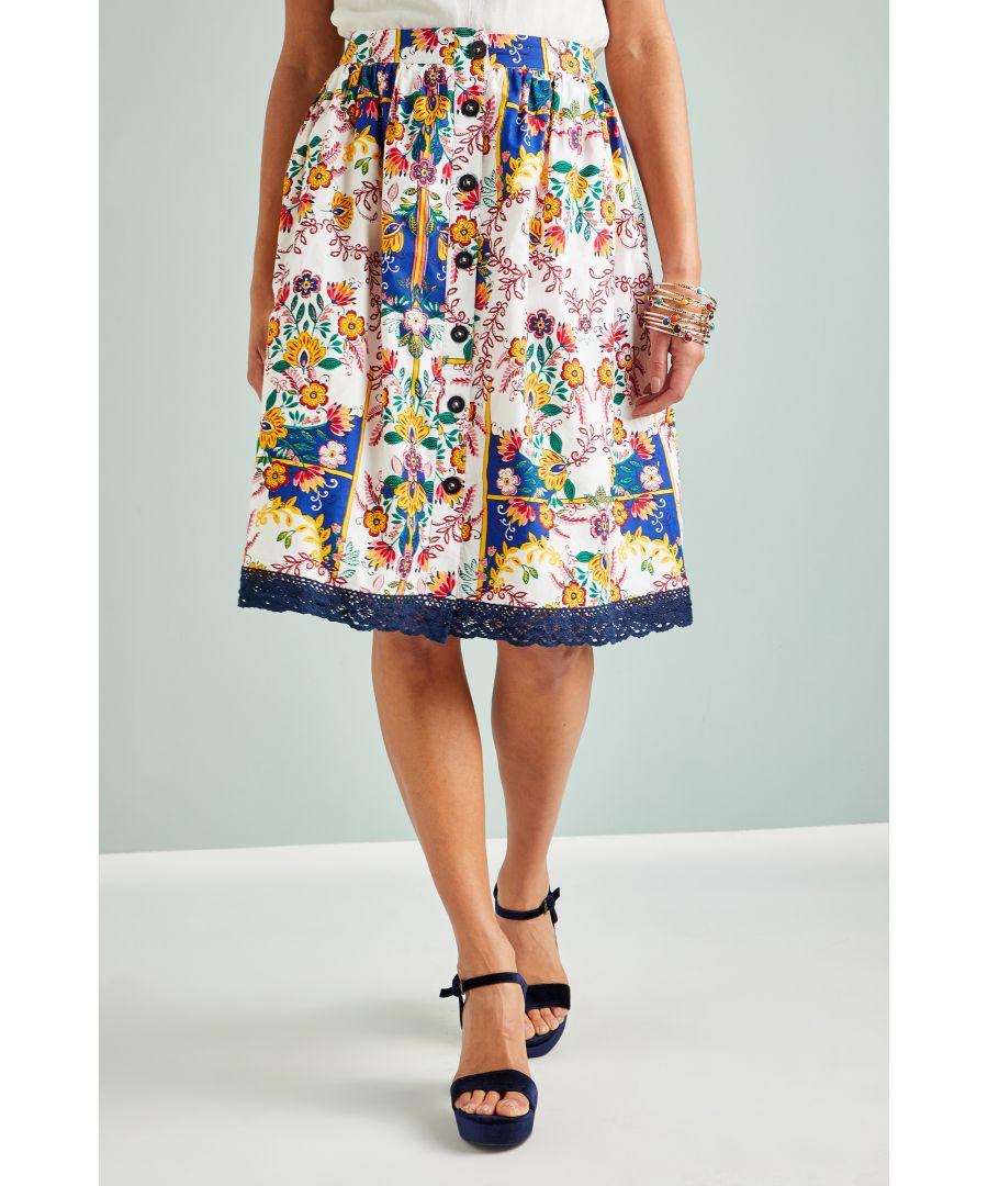Image for Mexican Folk Print Skirt