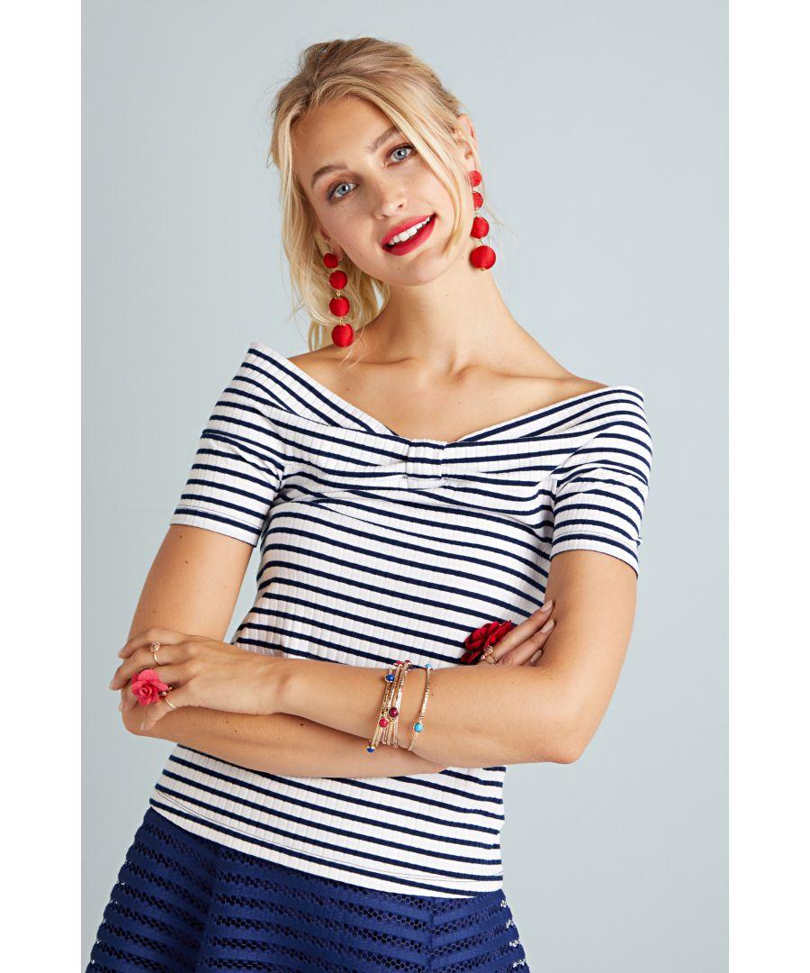 Image for Stripe Rib Bardot Top