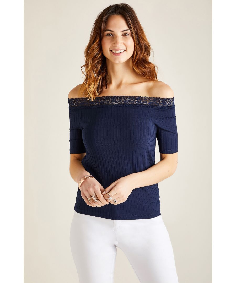 Image for Lace Rib Bardot Top