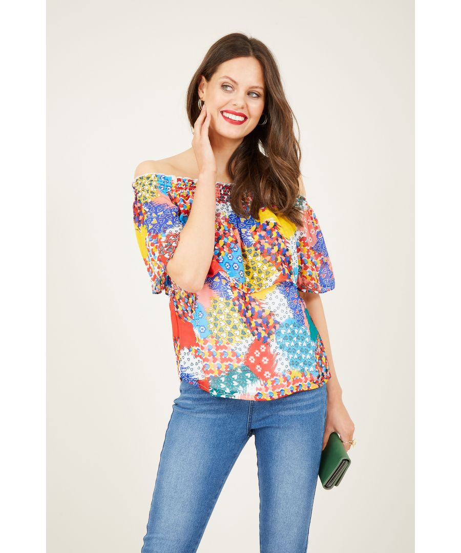 Image for Heart Printed Bardot Top