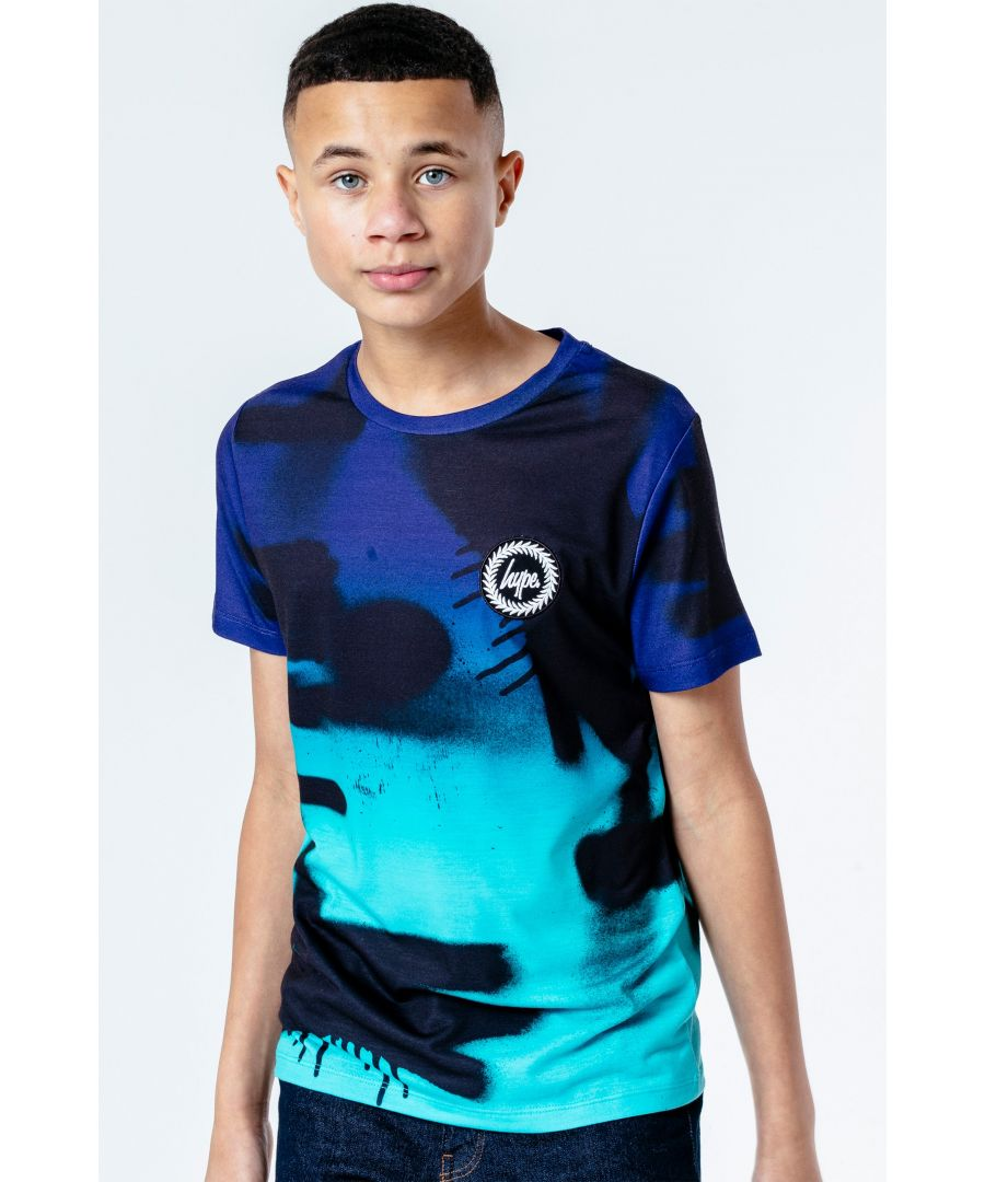 Image for Hype Blue Fade Spray Kids T-Shirt