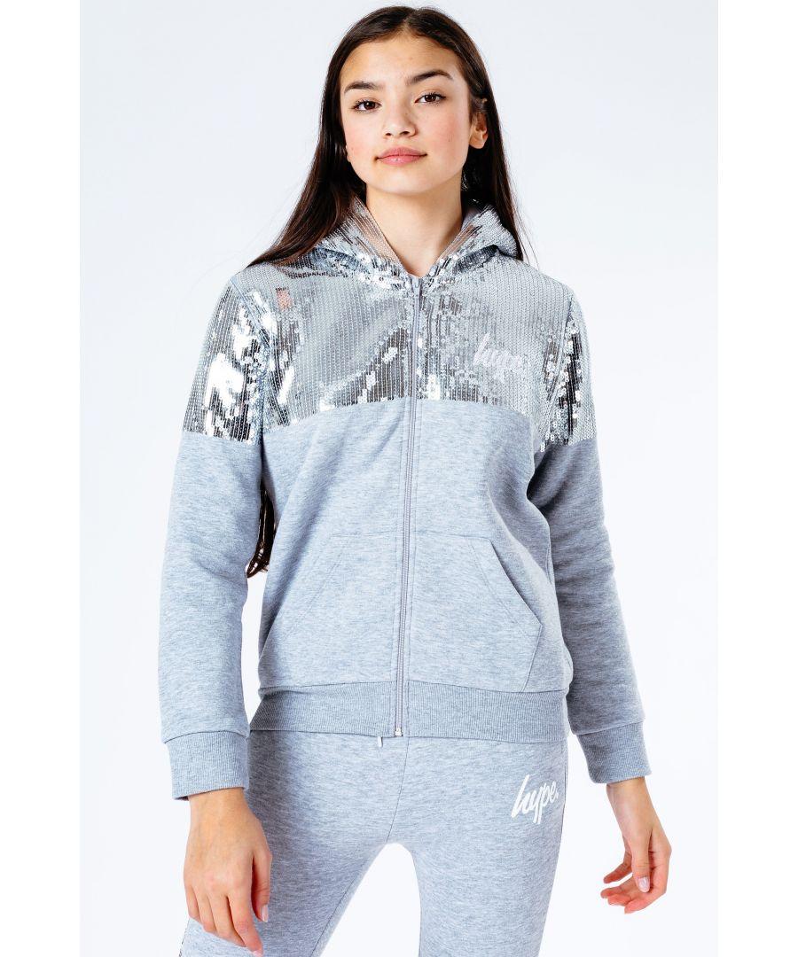 Image for Hype Silver Sequin Kids Zip Hoodie