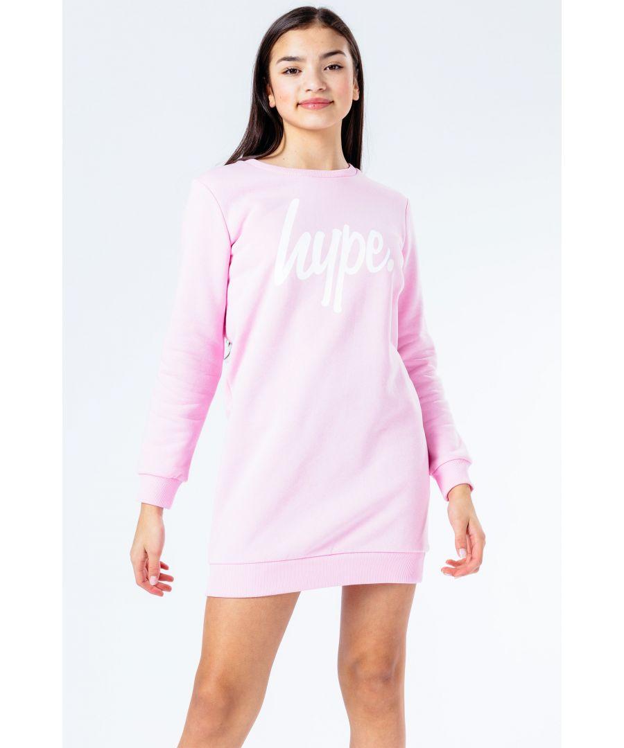 Image for Hype Pink Script Kids Sweat Dress