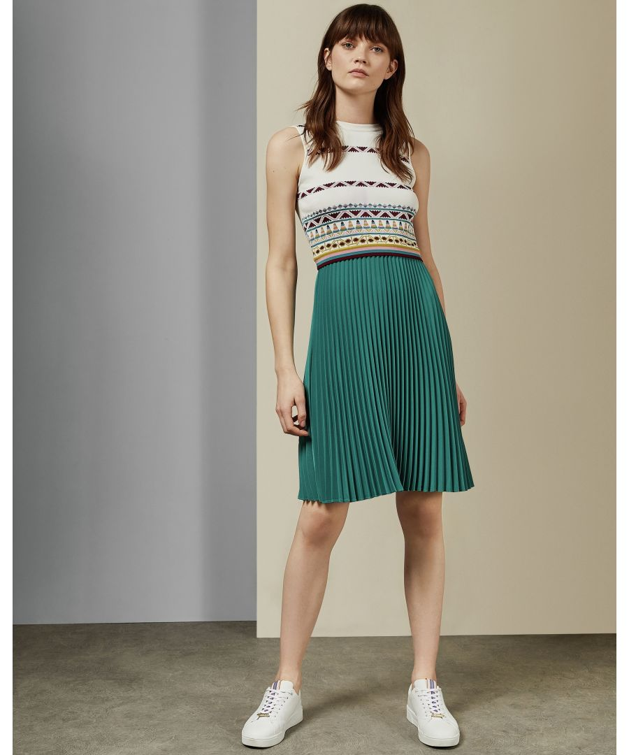 Image for Ted Baker Zannan Cabin Knit Top Woven Pleat Skirt Dress in Ivory