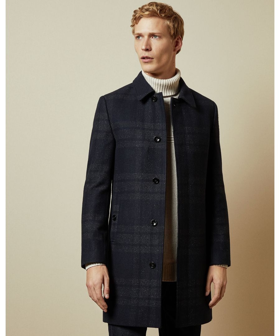 Image for Ted Baker Dudno Oversized Check Overcoat, Navy