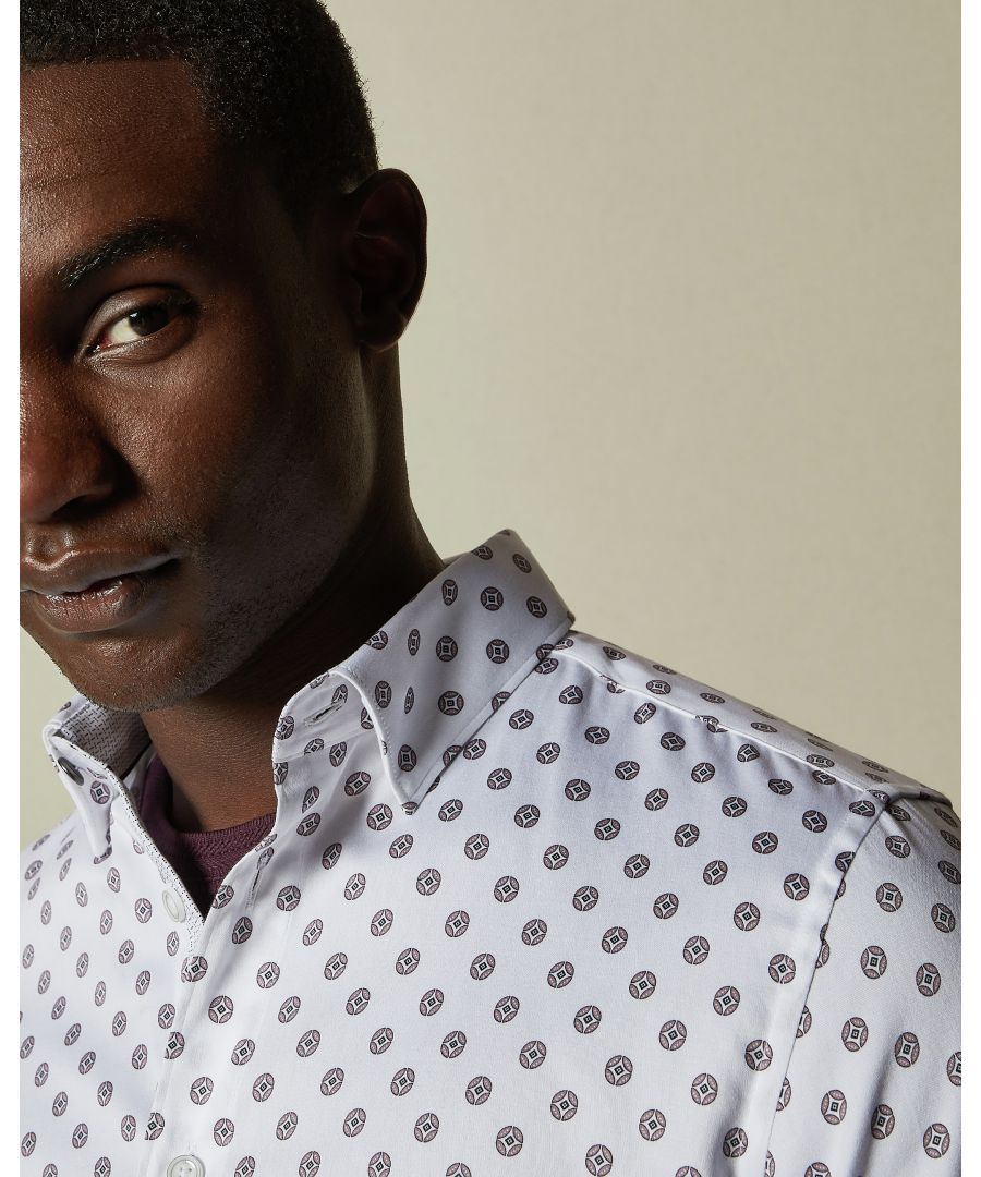 Image for Ted Baker Fille Long-sleeved Circle Geo Print Shirt, White