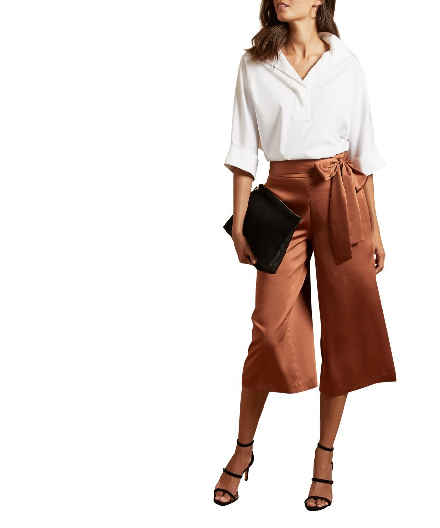 Image for Theorda Waist Tie Satin Culotte in Brown