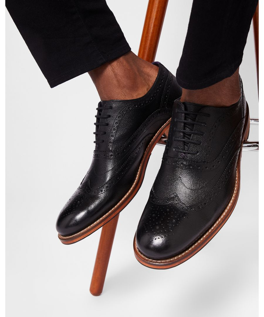 Image for Guri Leather Brogue Shoe in Black
