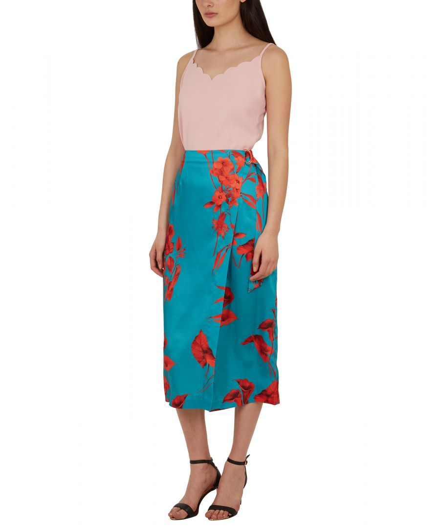 Image for Lilyyy Fantasia Wrap Midi Skirt in Turquoise